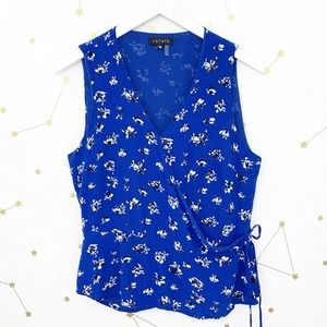 1 State • Blue Floral Print Sleeveless Wrap Top